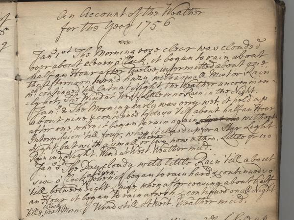 Page from an 18th century weather diary