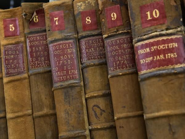 Photograph of old Council minute books