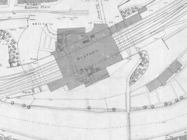 Part of an old map showing a railway station
