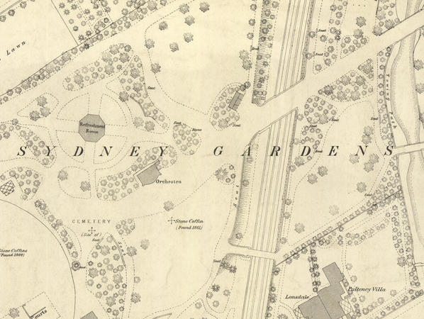 Largescale map showing Sydney Gardens in the 1880s